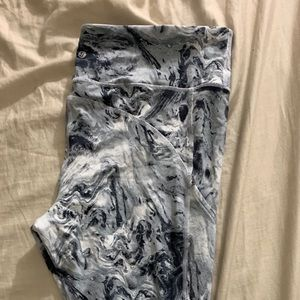 Marbled crop work out yoga pants